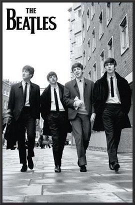 The Beatles (London Street) 24x36 Wood Framed Poster Music Art Print