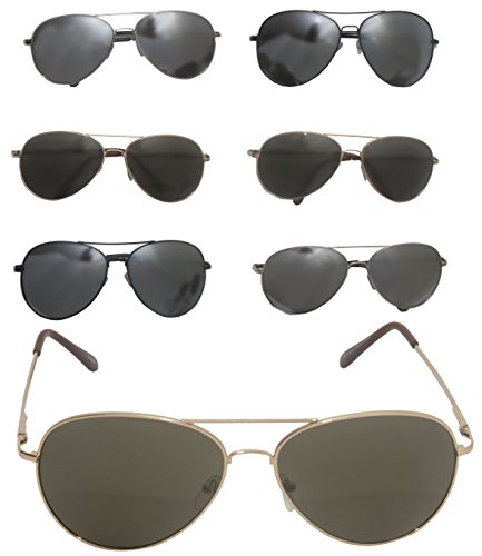 Metal Aviator Style Sunglasses Mirror Lens Bundle Lot 6 Men Women Clearance - Sport Price Mj Sunglasses