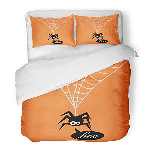 Emvency Decor Duvet Cover Set Twin Size Animal Cute Spider on Orange of for The Halloween Party Say Boo Arachnid Black 3 Piece Brushed Microfiber Fabric Print Bedding Set Cover