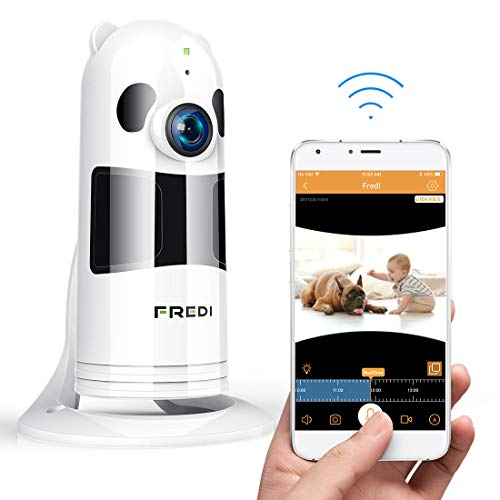 FREDI Baby Monitor WiFi Wireless Camera 1080P HD Security Camera with Two-Way Talking,Infrared Night Vision,P2P WPS Ir-Cut IP Camera Motion Detection Loop Recording(Without SD Card) (White)