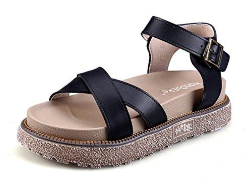 NVXIE Femmes Fille Slingback Appartement Ouvrir Doigt de Pied des Sandales Plage Été des Sandales Tongues Chaussures Taille 35-42 black