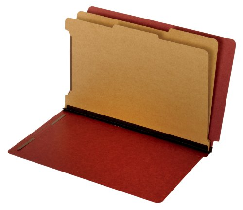 (Globe-Weis/Pendaflex End Tab Classification Folders, 2 Dividers, 2-Inch Embedded Fasteners, Legal Size, Red, 10 Folders Per Box (39860))