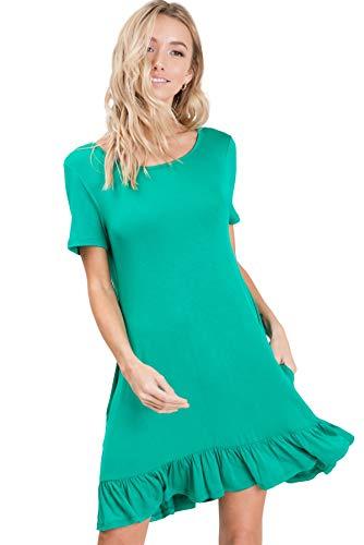 - Annabelle Ruffle Hem Short Cocktail Dresses for Women Kelly Green Small D5420