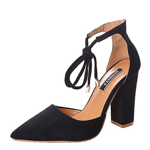 Women Ankle Pointed Toe Sandals High Heels Shoes (Black) - 1