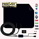 (2019 Newest) HDTV Antenna Digital Amplified HD TV Antenna 60-90 Mile Range 4K 1080P HD VHF UHF Freeview Television Local Channels w/Detachable Signal Amplifier and 16.8ft Coax Cable/USB Power Adapt