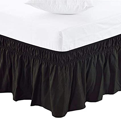 ee81bbdc0 Amazon.com: MEILA Three Fabric Sides Wrap Around Elastic Solid Bed Skirt,  Easy On/Easy Off Dust Ruffled Bed Skirts 16 Inch Tailored Drop (Black  Queen/King): ...