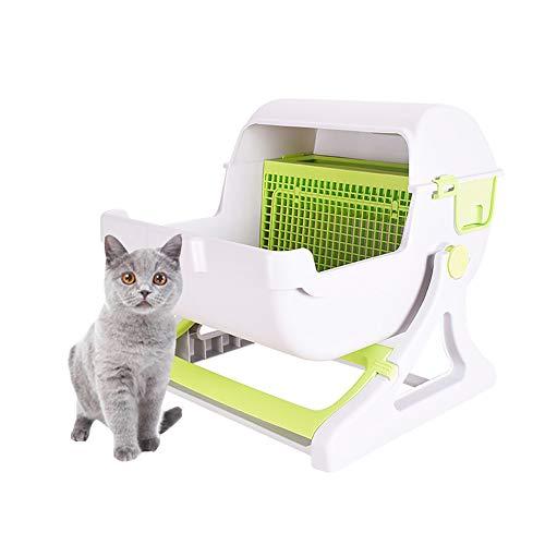 DJLOOKK Caja de Arena para Gatos de Limpieza rápida semiautomática para Gatos, baño de Lujo para Gatos,Green