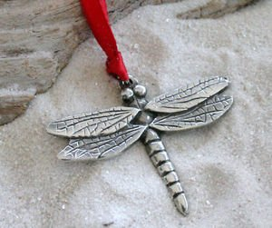 Amazon.com: Pewter Dragonfly Fairy Christmas Ornament and Holiday ...