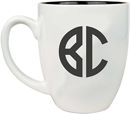 Monogram Chocolates - Two Initial Monogram Coffee, Tea, Hot Chocolate Mug with Permanent Engraving, Personalized 16 oz Mug with Color Choices! - BM08