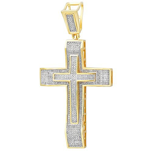 - 2.00 Carat (ctw) 18K Yellow Gold Plated Sterling Silver Micro Pave Diamond Mens Religious Cross Pendant