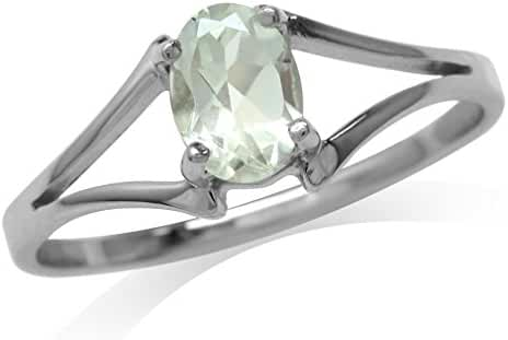 Natural Green Amethyst 925 Sterling Silver Solitaire Ring