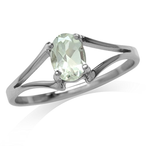 Silvershake Natural Oval Shape Green Amethyst 925 Sterling Silver Solitaire Ring Size 7.5 ()