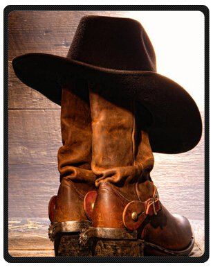 b8d03ff3166 Top design American West Rodeo Cowboy Black Felt Hat Atop Worn Western  Boots Vintage Style Printed