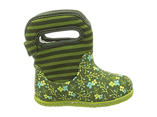 Bogs Kids Baby Girl's Baby Classic Flower Stripe  Olive Boot