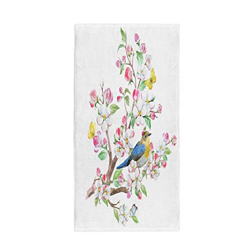 (Semtomn 14 x 30 Inches Bath Towel Watercolor Spring Blossom Tree Apple Flowers Bird and Butterfly Soft Absorbent Travel Guest Decor Hand Towels Washcloth for Bathroom(One Side Printing))