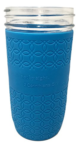 Blue Joy Mason Jar Silicone Protective Sleeve Cover 24 oz. 1.5 pint Wide Mouth Koozie fits Ball Kerr (2 Pack) Spiritual Inspirational Bible Verse (Blue)