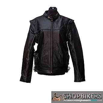 Chaleco Chaqueta Cazadora Cuero Moto 2 en 1 Rambler Convertible Bikers Cafe Racer Leather Jacket Vest 3XL negro: Amazon.es: Juguetes y juegos