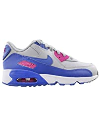 Nike Air Max 90 LTR Wolf Grey/Comet Blue-Fire Pink (Little Kid)