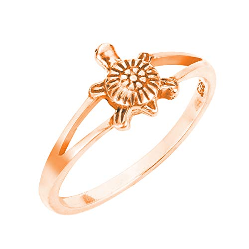 CloseoutWarehouse Rose Gold-Tone Plated Sterling Silver Solitaire Sea Turtle Honu Ring Size 15