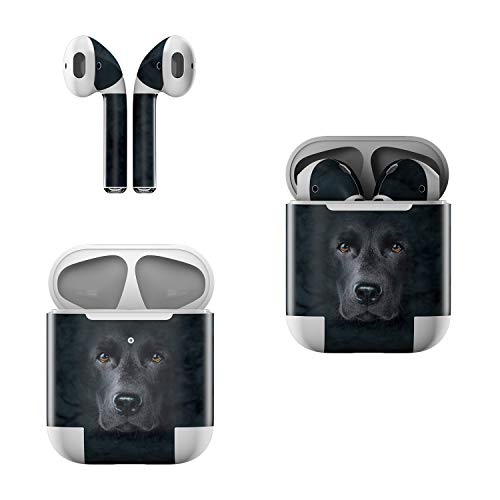 Skin Decals for Apple AirPods - Black Lab - Sticker Wrap Fits 1st and 2nd ()