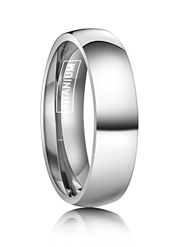 (Just Lsy 6mm Silver Titanium Rings Plain Dome High Polished Wedding Band in Comfort Fit Size 7.5 Lsy-005)