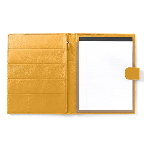 Leatherology Organizer Portfolio with Tablet Pocket & Magnetic Closure - Full Grain Leather Leather - Turmeric (yellow) by Leatherology
