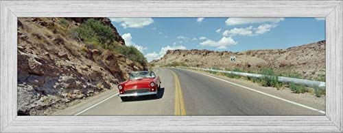 (Easy Art Prints Panoramic Images's 'Car on a Highway, Route 66, Kingman, Mohave County, Arizona, USA' Premium Framed Canvas Art - 30