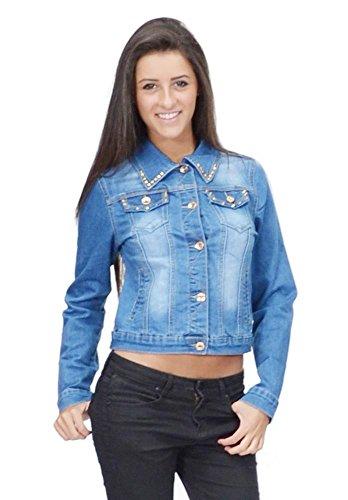 New Ladies Womens Blue Faded Stud Denim Jacket Fitted Stretch Jeans Jacket US 6 (UK (Faded Stretch Jacket)