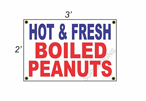 HOT & FRESH BOILED PEANUTS 2x3 Red White & Blue Banner Sign