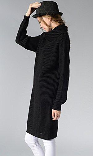 Mujer Jersey Vestido Cuello Vuelto Chaquetas Manga Larga Sueter de Punto Negro