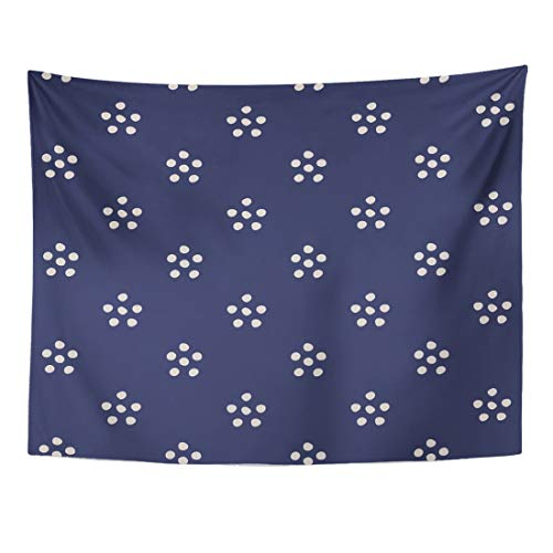 (Emvency Tapestry 60 x 50 Inches Craft Abstract in Blue and White Tribal Pattern Polka Dot Simple Folk Crafting Denim Domestic Home Decor Tapestries Wall Hangings Art for Living Room Bedroom Dorm)