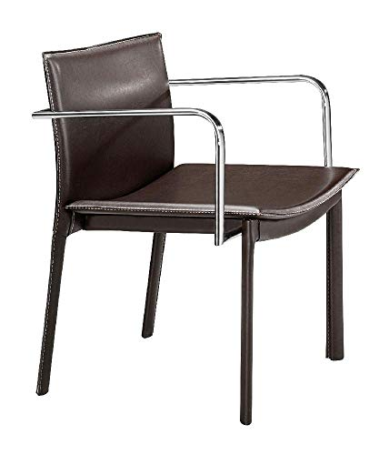 Zuo Modern 404143 Gekko Conference Chair in Espresso; Handsome leatherette wrapped chair has eclectic design cues with funky lines, chrome arms, and with a fully wrapped leatherette body; 250 lbs. ()