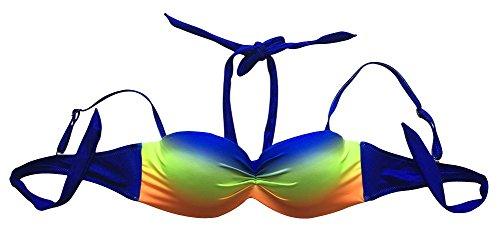 Le Besi Mujer Fashion Push Up Halter elegante elevada ovalada acolchado Bañador naranja