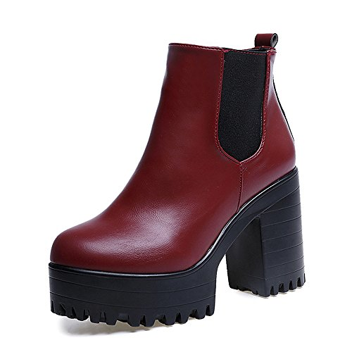 Women Chunky Heel Ankle Boots Slip on Platform Boots Zipper up High Heel Chelsea Boots (Red, US 8)