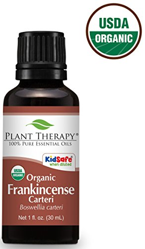 Plant Therapy USDA Certified Organic Frankincense Carteri Essential Oil. 100% Pure, Undiluted, Therapeutic Grade. 30 mL (1 Ounce). 100% African Essential Oil