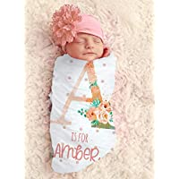 Baby Girl Floral Monogram Blanket Colored Personalized Baby Blanket Personalized Swaddle Blanket Baby Girl Receiving Blanket Monogram