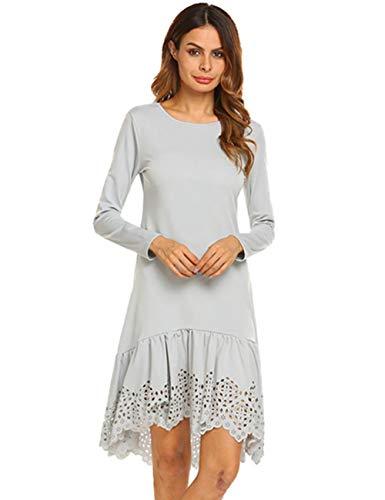 Zeagoo Women's Long Sleeve O Neck Irregular Hem Slit Side High Low Tee Dress Grey S