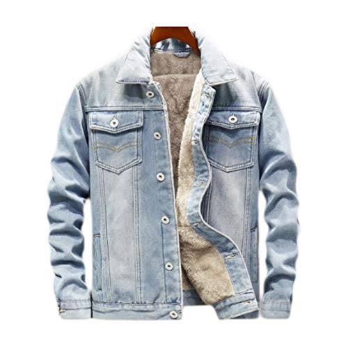 Mens Denim Jacket Casual Classic Winter Thick Chest Pockets Rodeo Lined Fashion Mens Jeans Jacket Thicken Warm Outwear Coat
