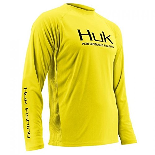 Highlighter Water - Huk Mens Performance Vented Long Sleeve, Highlighter Yellow, XX-Large