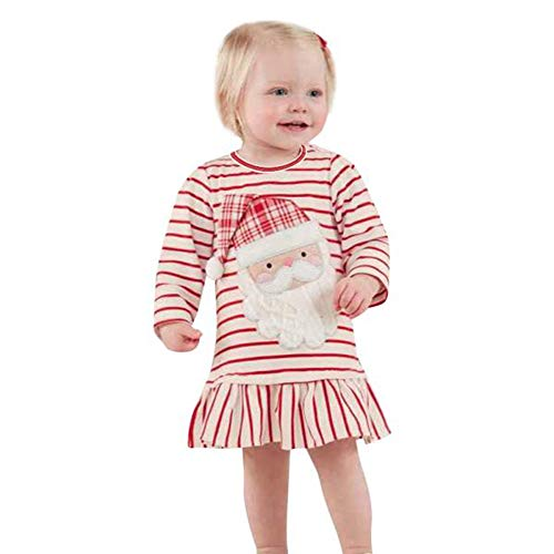Clearance! Baby Girls Christmas Outfits Striped Santa Claus Dress, Long Sleeve Tops T-Shirt for Toddler (Bishop Dress Birthday)