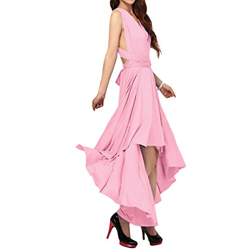Women's Flowy Transformer Convertible Multi Way Wrap Long Prom Maxi Dress V-Neck Hight Low Wedding Bridesmaid Evening Party Grecian Dresses Backless Halter Formal Cocktail Gown Pink Hi Low S ()