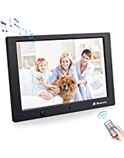 Powerextra 10 Inch 16:9 Digital Photo Frame 1080P HD Display with Motion Sensor and Multiple Functions for Clock/Calender/Music/Video Play, Using USB Flash Disk and SD Card Slots