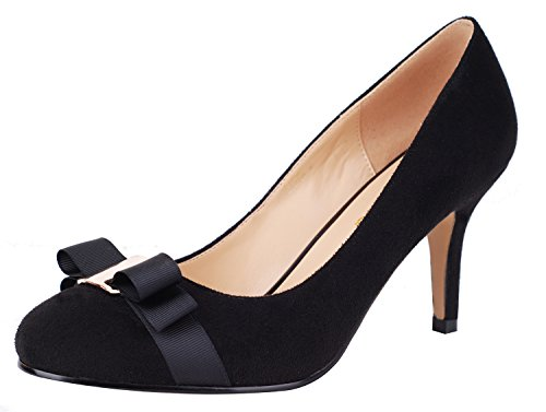 Decoration Official Evening Occasion Pumps Party Black Verocara Toe Women's Ornament Pointy Mid Heel gxOwvqI