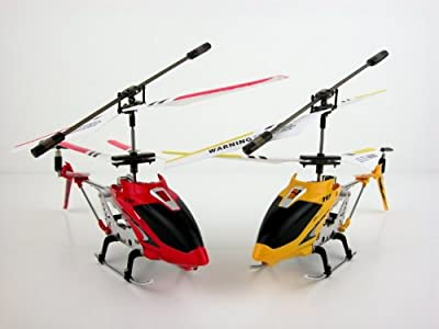 S107G 3 Channel Mini Indoor Co-Axial Metal RC Helicopter w/ Built in Gyroscope (Red & Yellow) Set of 2 from Syma
