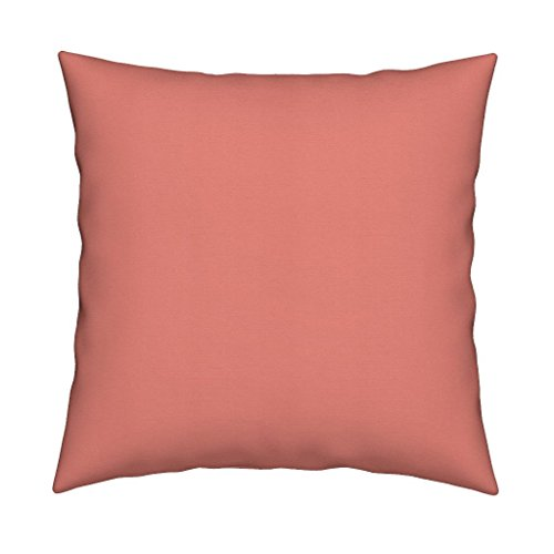 Roostery Coral Peach Dark Coral Terra Cotta Tomato Soup Solid Coral Pink Organic Sateen Throw Pillow Cover Lady Hamilton ~ Coral Pink ~ by Peacoquettedesigns Cover w Optional Insert