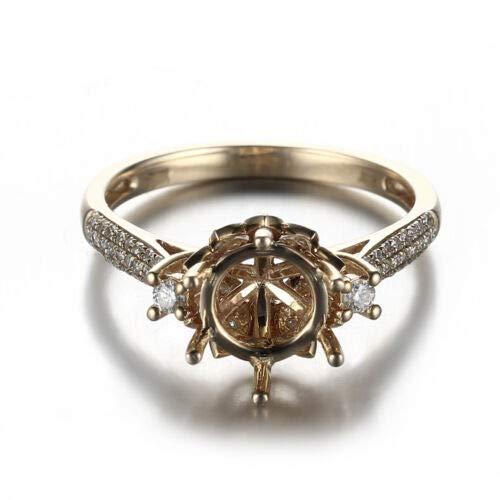 FidgetGear Lady 8mm Round 14K Yellow Gold Diamond Engagment Lotus Flower Semi Mount Ring