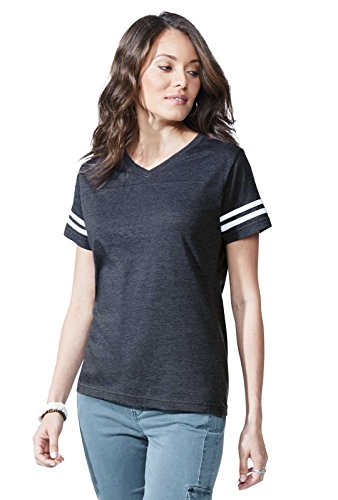 LAT Ladies' Fine Jersey Short Sleeve Football Tee (Vintage Smoke/Blended White, XX- ()