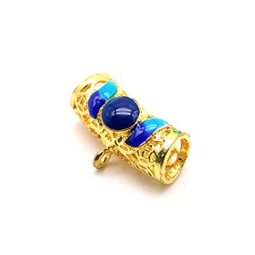 So Beauty Standard 925 Silver Enamel Cloisonne Bent Tube Bracelet Accessories DIY Beads Blue & Gold