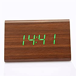 Wooden Alarm Clock Anten LED Digital Wood Clock with Voice Control Time Date Temperature Display USB/AAA Power Supply,Triangle Bamboo