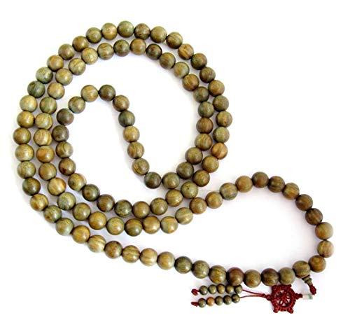 OVALBUY 15mm Big Green Sandalwood Beads Tibetan Buddhist Prayer Meditation Mala 56 Inch